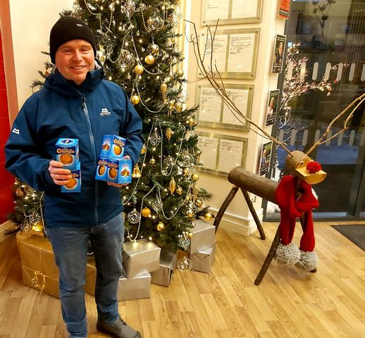 Chocolate Orange Man hands out Terry's treats to hospice staff