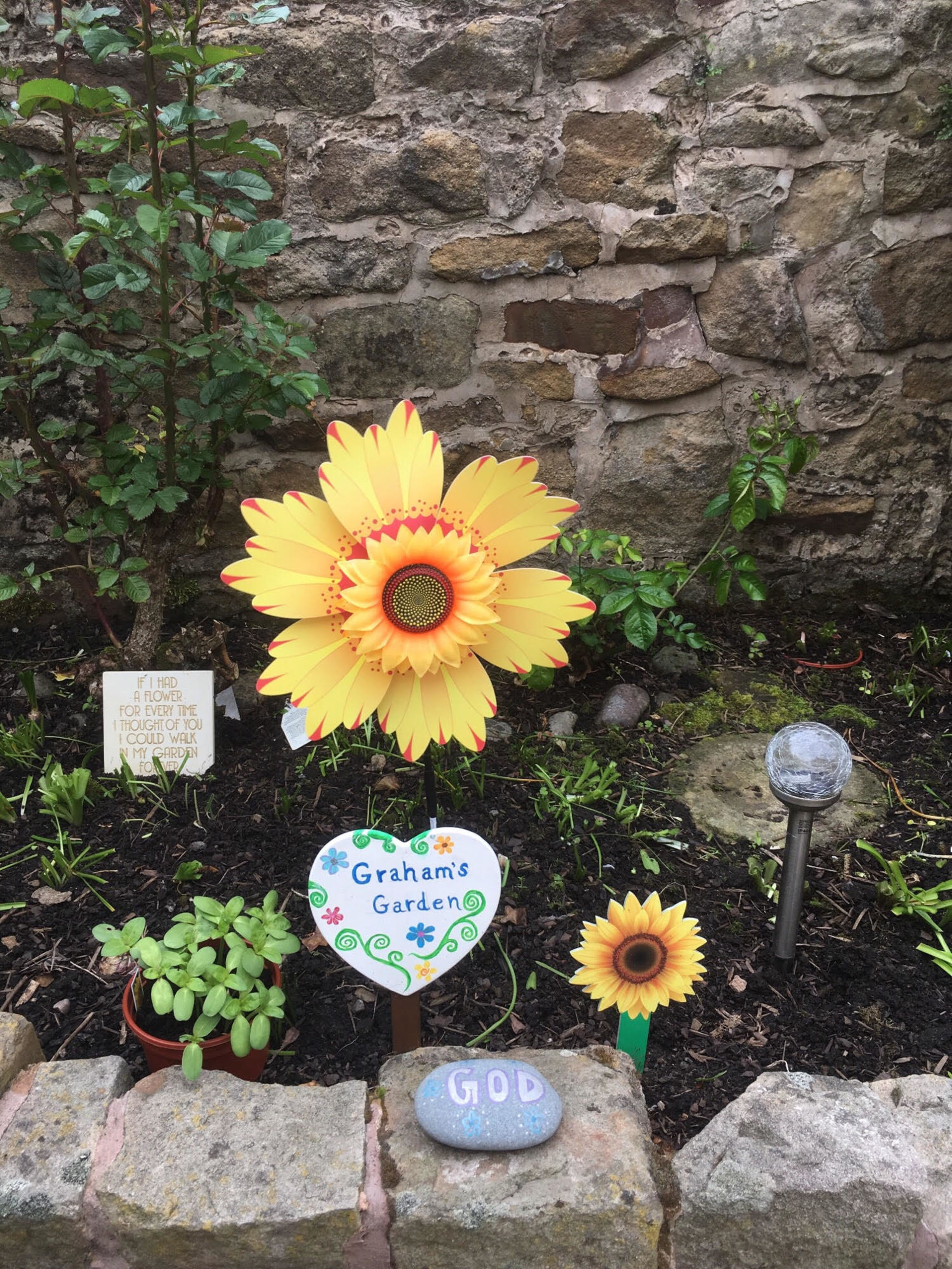 Mary Pomfret's garden in memory of her late husband